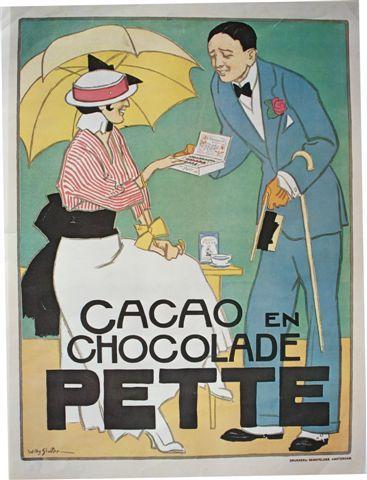 Image from object titled Galante heer, in de linker hand stok en hoed, biedt doos met chocolade aan aan een gezeten dame, witte rok, rood-wit gestreepte blouse en dito hoed, gele parasol. Op een tafeltje kop chocolademelk...