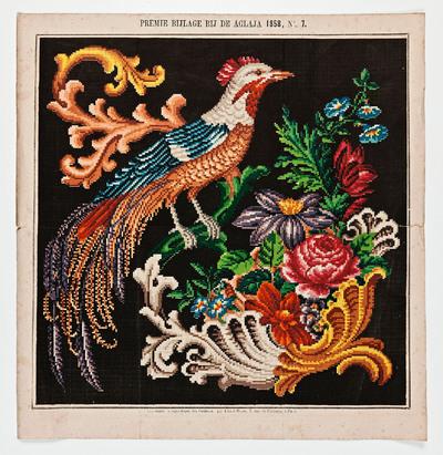 Image from object titled Op de afbeelding is een borduurpatroon te zien uit de bijlage van de 'Aglaja' no. 7 uit 1858. Aglaja is de naam van een van de drie gratiën uit de Griekse mythologie die model stonden voor...