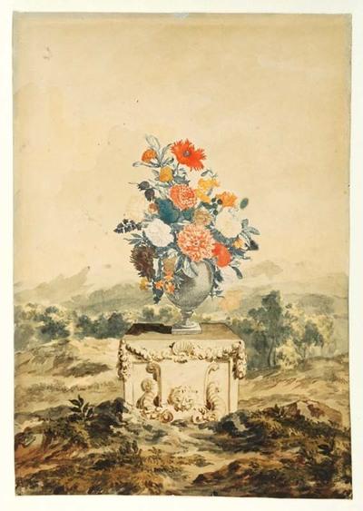 Image from object titled De vaas is in kleuren gedrukt, het landschap en de sokkel zijn geaquarelleerd. Johannes Teyler vond een nieuwe techniek uit om koperplaten met verschillende kleuren drukinkt in te smeren en die in...