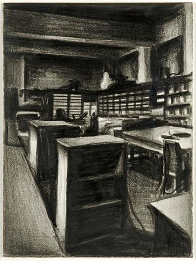 Een wat ouderwets interieur van een bibliotheek: er zijn alleen boekenrekken en leestafels te zien. Alles is mooi opgeruimd en er heerst een perfecte stilte. Ze is niet somber, eerder sober; niet beklemmend, eerder...