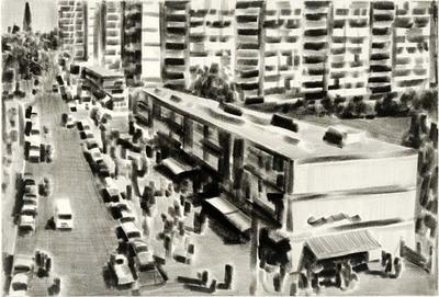 Een voorstelling gebaseerd op een stadsgezicht uit de jaren vijftig. Het is er een drukte van belang en de flatgebouwen vormen een soort decor voor het tafereel.