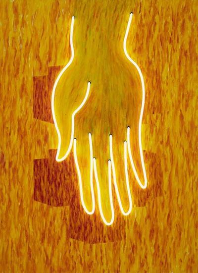 Uitbeelding van de hand van Boeddha die zijn volgelingen bedeelt met goede gaven. De beeltenis van Boeddha vormt voor Woody van Amen een metafoor voor de gehele Aziatische cultuur. De contouren van de hand zijn omgeven...