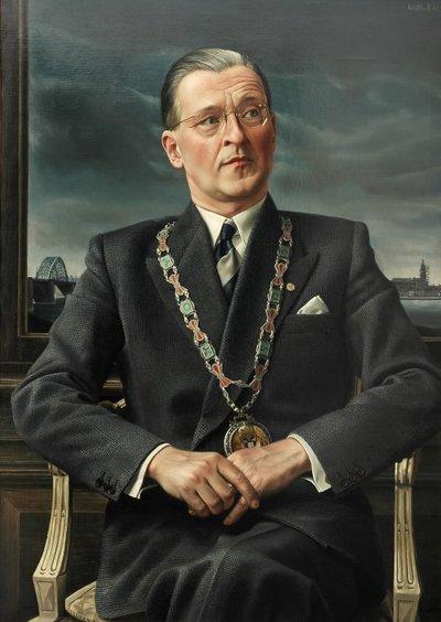 Carel Willink vindt het onzinnig om een psychologisch portret te maken. Voor hem is het uiterlijk van de opdrachtgever het belangrijkste. Dit portret van Ch. Hustinx – burgemeester van Nijmegen, ambtsperiode 1945-1967 – is...