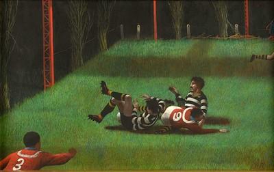 Dit schilderij stelt een komisch moment in een voetbalwedstrijd voor. De spelers komen ten val en kunnen de bal, hoewel die binnen handbereik is, niet spelen. De manier waarop de voetballers in hun bewegingen zijn...