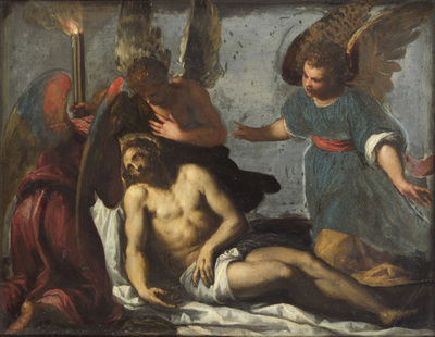Image from object titled Toter Christus, von Engeln beweint