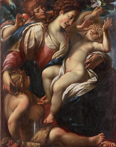 Image from object titled Maria mit dem Kind, Johannesknaben und einem Engel