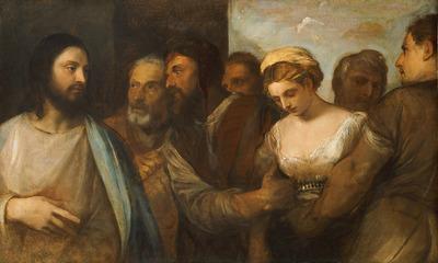 Image from object titled Christus und die Ehebrecherin