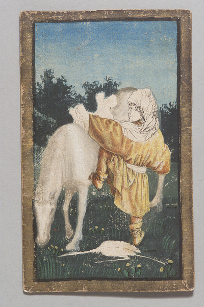 "Image from object titled Spielkarte Reiher Unter aus dem ""Ambraser Hofjagdspiel"""