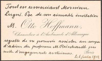 Visitenkarte Otto Hoffmann Verfasser In Europeana