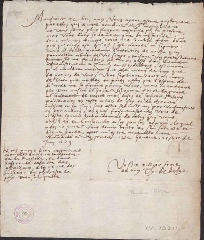 Brief aan Nicolas Pithou, heer van Changobert / Théodore de Bèze