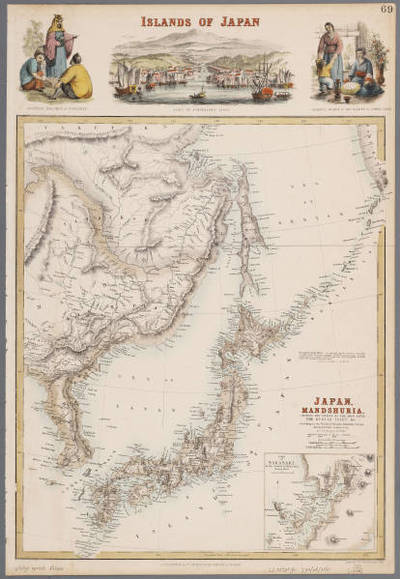 Japan, Mandshuria (showing the course of the Amur river), the Kurile Isles &c. : according to the British & Russian Admiralty surveys, Krusenstern, Siebold &c. / by J. Bartholomew Jun.r ; engraved by J. Bartholomew