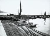 """Barcola, barche al porticciolo(immagine commissionata da Delia Benco per il Lloyd Triestino - rivista """"Sul Mare"""")"""