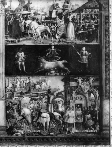 The month of March, fresco in the Hall of the Months in the Schifanoia Palace in Ferrrara, work by Francesco del Cossa. Upper fillet: Triumph of Minerva and a group of wise men, amongst whom Leon Battista Alberti. Middle...