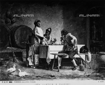 """""""La partita a scacchi"""" or The Chess Game, pictoral work by Alessandro Sani, owned by the Galleria Pisani, Florence, Tuscany"""