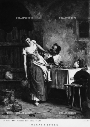 """""""Soldato e Ostessa"""" or The Soldier and the Hostess, pictoral work by Alessandro Sani, owned by the Galleria Pisani, Florence, Tuscany"""