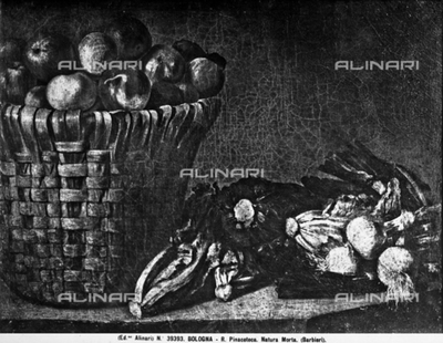 Still life with basket of apples, celery and onions by Paolo Antonio Barbieri, brother of Guercino. National Portrait Gallery, Bologna.