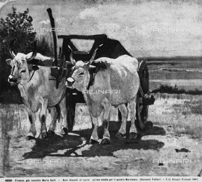 """White Oxen with a Cart, first study by Giovanni Fattori for his painting """"Maremma,"""" formerly part of the Mario Galli Collection, Florence"""