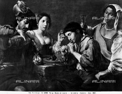 Painting depicting a scene in a tavern, work located in the Louvre Museum, Paris. In the scene are various figures in the act of drinking or eating. One of them is playing the flute.