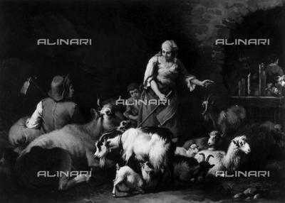 Shepherds: work by Francesco Londonio in Borromeo Palace on Bella Island, Lake Maggiore