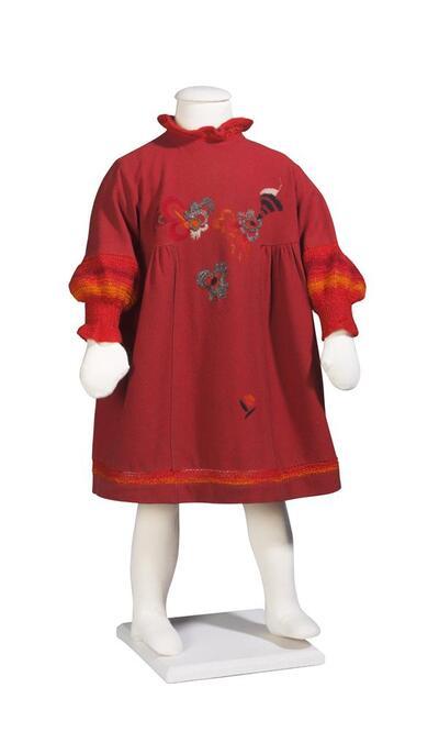 Jurk (meisje) van rode wol