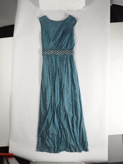 Avondjurk van blauw/groene zijden tricot
