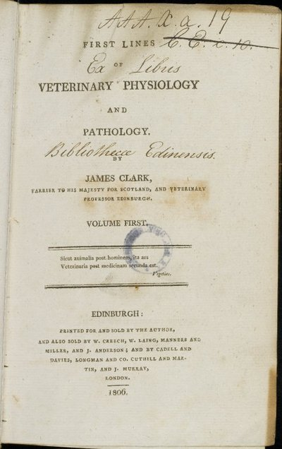 First Lines of Veterinary Physiology & Pathology, Vol.I, 1806 | James Clark (artist)