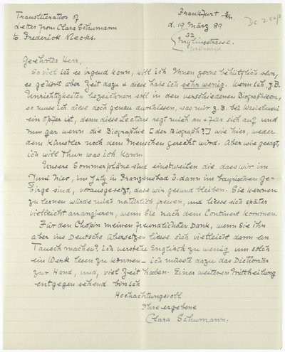 Letter from Clara Schumann to Frederick Niecks, 19th March 1889