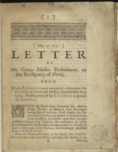 Letter by Mr George Blaikie, 1737