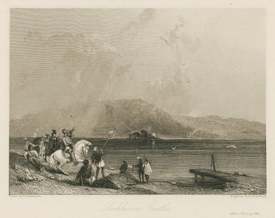 Steel engraving by R. Brandard after G. Cattermole of a scene from Scott's novel The Abbot; Abbot, The; Lochleven Castle