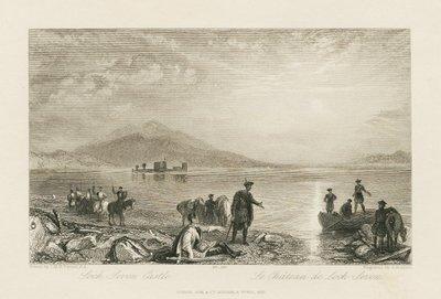 Steel engraving by J. B. Allen after J.M.W. Turner of a scene from Scott's novel The Abbot; Abbot, The; Loch Leven Castle = Le Château de Loch Leven