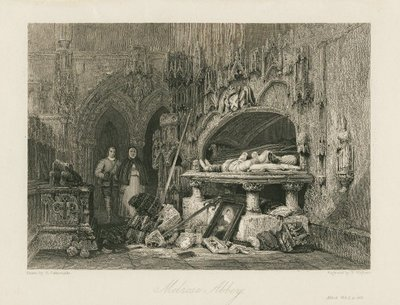 Steel engraving by T. Higham after G. Cattermole of a scene relating to Scott's novel The Abbot; Abbot, The; Melrose Abbey