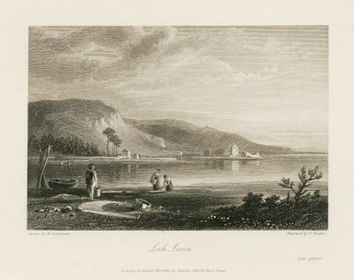 Steel engraving by E.F. Finden from a drawing by H. Gastineau depicting a scene relating to Scott's novel The Abbot; Abbot, The; Loch Leven