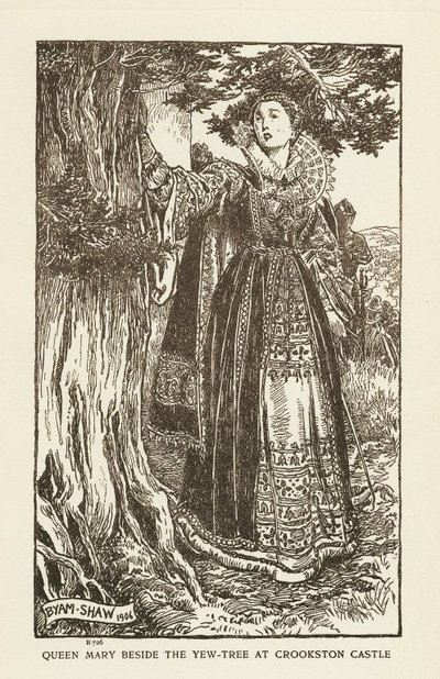 Woodcut engraving by B. Shaw of a scene from Scott's novel The Abbot; Abbot, The; Queen Mary beside the Yew-Tree at Crookston Castle