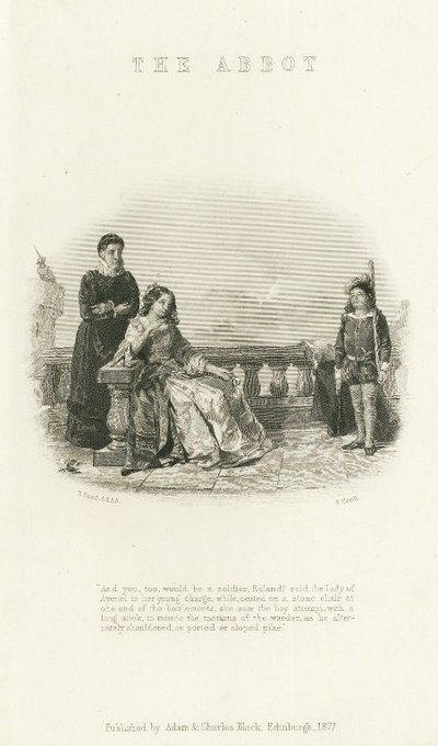Steel engraving by F. Croll after a drawing by T. Faed depicting a scene from Scott's novel The Abbot; Abbot, The; Lady of Avenel and the Young Roland Graeme