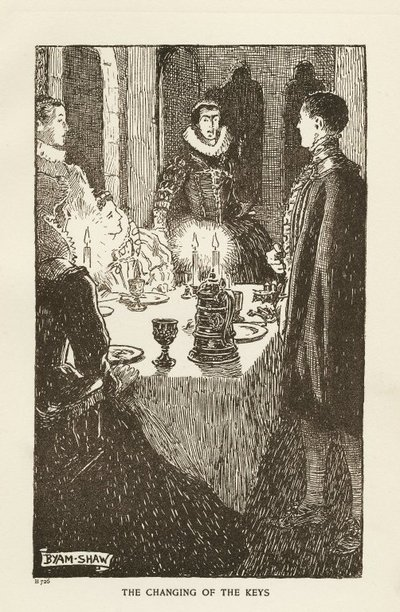 Woodcut engraving by B. Shaw of a scene from Scott's novel The Abbot; Abbot, The; The Changing of the Keys