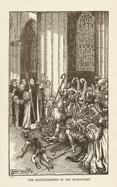 Woodcut engraving by B. Shaw of a scene from Scott's novel The Abbot; Abbot, The; The Masqueraders in the Monastery