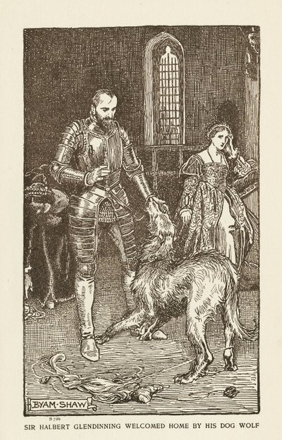 Woodcut engraving by B. Shaw of a scene from Scott's novel The Abbot; Abbot, The; Sir Halbert Glendinning Welcomed Home by his Dog Wolf