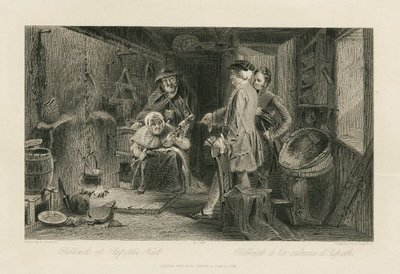 Steel engraving by P. Lightfoot after a drawing by A. Chisholm of a character from Scott's novel The Antiquary; Antiquary, The; Oldbuck at Elspeth's Hut = Oldbuck à la cabane d'Elspeth