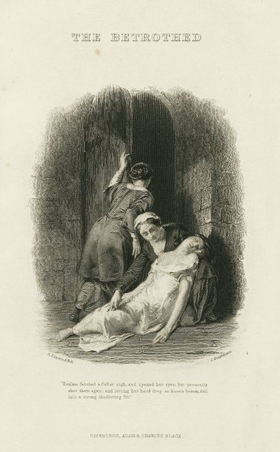 Vignette steel engraving by J. Stephenson from a drawing by A. Elmore of the title page of The Betrothed by Scott; Betrothed, The; 'Eveline fetched a fuller sigh, and opened her eyes; but presently shut them again, and...