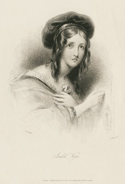 Steel engraving by J. Thomson from a drawing by E. T. Paris of a character from Walter Scott's novel The Black Dwarf; Black Dwarf, The; Isabel Vere