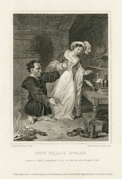 Steel engraving by F. Engleheart after a drawing by William Allan depicting a scene from Scott's novel The Black Dwarf; Black Dwarf, The; The Black Dwarf: Isabella Vere's Midnight Visit to the Black Dwarf's Hut