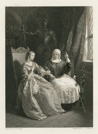 Bride of Lammermoor, The; [Steel engraving by J. C. Edwards after a painting by J. W. Wright of a scene from Scott's novel The Bride of Lammermoor]