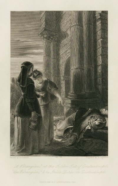Steel engraving by P. Lightfoot from a drawing by A. Chisholm of a scene from Scott's novel Count Robert of Paris; Count Robert of Paris; A Varangian at the Golden Gates of Constantinople = Un Varangien à la Grille dorée...