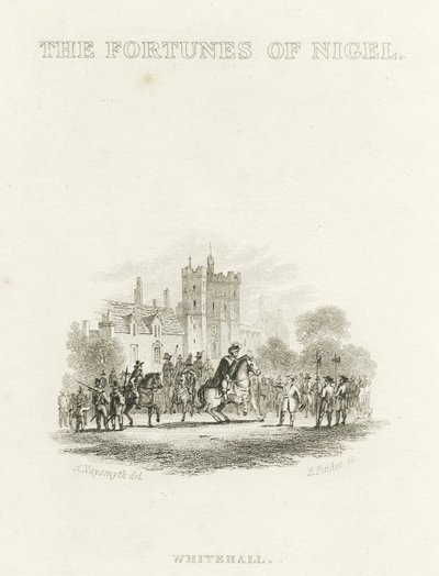 Steel vignette engraving by Edward Finden after a drawing by A. Naysmith of a scene from Scott's novel The Fortunes of Nigel; Fortunes of Nigel, The; The Fortunes of Nigel: Whitehall