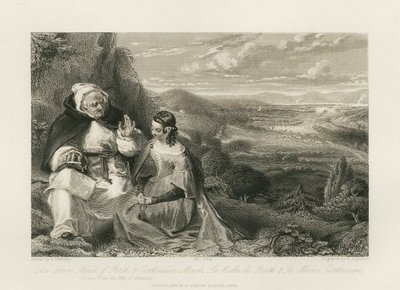 Steel engraving by P. Lightfoot after a painting by A. Chisolm of two characters from Scott's novel The Fair Maid of Perth; Fair Maid of Perth, The; The Fair Maid of Perth & Carthusian Monk = La Belle de Perth & le moine...