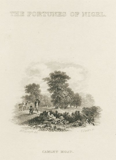 Steel vignette engraving by Edward Finden after a drawing by A. Naysmith of a scene from Scott's novel The Fortunes of Nigel; Fortunes of Nigel, The; The Fortunes of Nigel: Camlet Moat