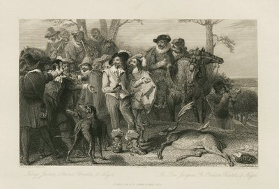 Steel engraving by R. Staines from a drawing by A. Chisolm of characters from Scott's novel The Fortunes of Nigel; Fortunes of Nigel, The; King James, Prince Charles, & Nigel = Le Roi Jacques, le Prince Charles, & Nigel