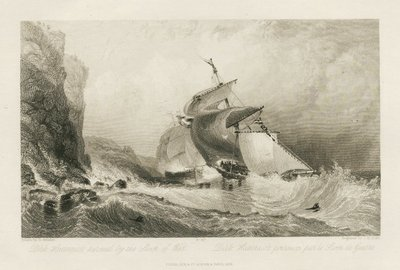 Steel engraving by James Bayliss Allen after a drawing by G. Balmer of a scene from Scott's novel Guy Mannering; Guy Mannering, or The Astrologer; Dirk Hatteraick pursued by the Sloop of War = Dirk Hatteraick poursuivi par...