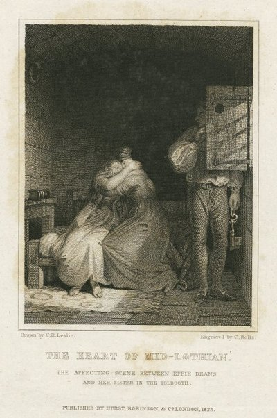 Engraving by C. Rolls after a drawing by C. R. Leslie of a scene from Scott's novel The Heart of Midlothian; Heart of Mid-Lothian, The; The Affecting Scene between Effie Deans and her Sister in the Tolbooth
