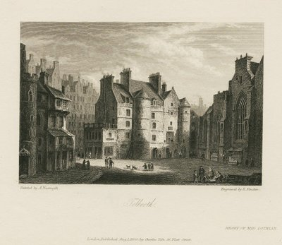 Steel engraving by Edward Finden after a drawing by A. Naysmith of a scene from Scott's novel The Heart of Midlothian; Heart of Mid-Lothian, The; Tolbooth
